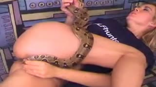 Blonde stuck in pussy tail boa, and she began to suck on his tail
