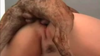 Dog with big dick fucking hairy pussy of his mistress