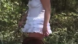 In the woods vulgar Japanese filmed red panties and in the grass fucked wild dog